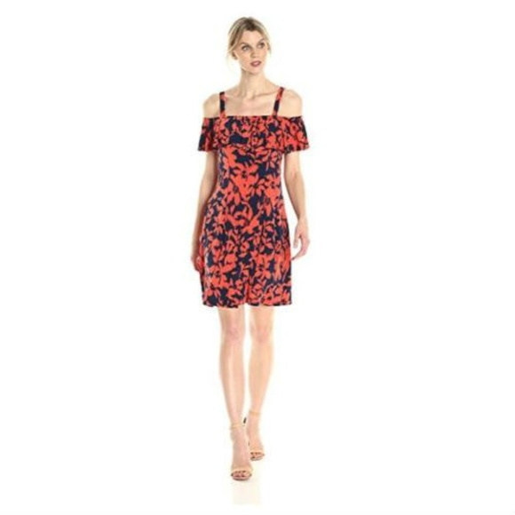 7a90356d238 London Times Ruffled Off-Shoulder Dress Navy Coral